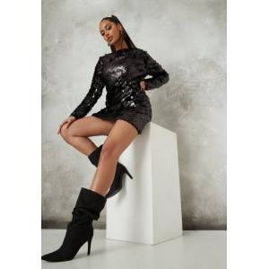 Missguided Black Sequin Crew Neck Shift Dress, Black - female - Size: 14