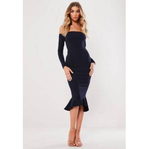 Missguided Navy Bardot Fishtail Bodycon Dress, Navy  - female - Navy - Size: 4