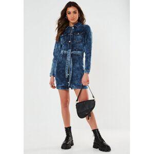 Missguided Blue Contrast Belted Button Through Denim Mini Dress, Blue  - female - Blue - Size: 6