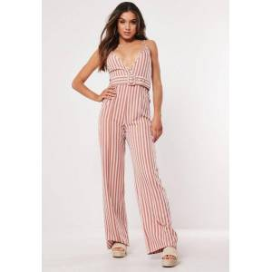 Missguided Pink Stripe Cami Belted Jumpsuit, Pink  - female - Pink - Size: 8