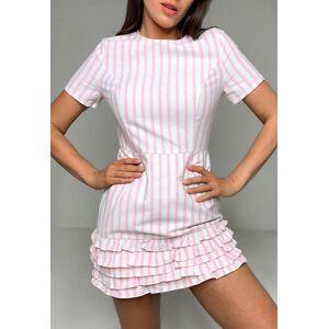 Missguided Pink Stripe Frill Hem Playsuit, Multi - female - Size: 6