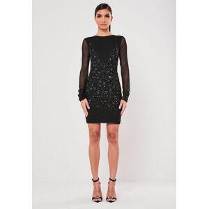 Missguided Black Embellished Bodycon Mini Dress, Black - female - Size: 8