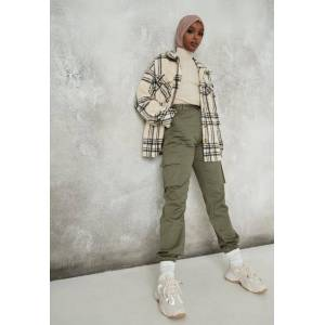 Missguided Khaki Plain Cargo Trousers, Kahki - female - Size: 18