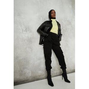 Missguided Black Plain Cargo Trousers, Black - female - Size: 18