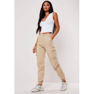 Missguided Tan Plain Cargo Trousers, Camel - female - Size: 18