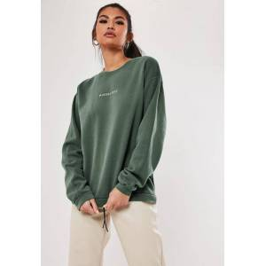 Missguided Green Missguided Slogan Washed Sweatshirt, Green  - female - Green - Size: Small