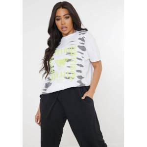 Missguided Plus Size White Tie Dye Butterfly Graphic T Shirt, White - female - Size: 22-24