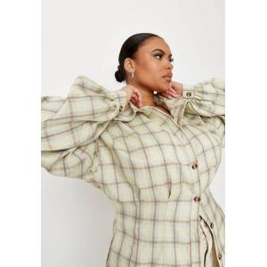 Missguided Plus Size Green Check Corset Shirt, Blue - female - Size: 26