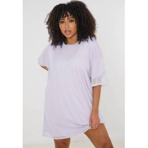 Missguided Plus Size Lilac Mesh Overlay T Shirt Dress, Lilac - female - Size: 24