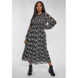Missguided Plus Size Black Floral Shirred Frill Cuff Midi Smock Dress, Black - female - Size: 24