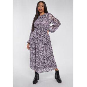 Missguided Plus Size Purple Floral Shirred Frill Cuff Midi Smock Dress, Purple - female - Size: 24