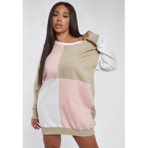 Missguided Plus Size Stone Colourblock Oversized Sweater Dress, Stone - female - Size: 24