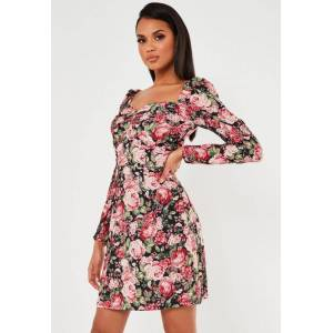 Missguided Tall Pink Floral Print Sweetheart Neck Shift Dress, Multi - female - Size: 6