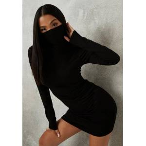 Missguided Petite Black Face Covering Roll Neck Bodycon Dress, Black - female - Size: 6