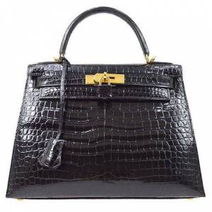Hermes Kelly 28 2Way Hand Bag Crocodile Porosus Skin Black, Black