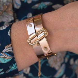 Vintage French Napoleon III Natural Pearl and Rose Gold Belt Bangle Bracelet, Gold