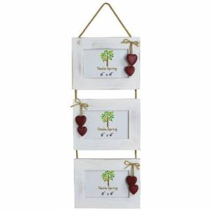 Nicola Spring 6x4 Hanging Hearts Picture Frame (3 Photo) - White/Red