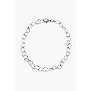 Oasis Sterling Silver Linked Heart Anklet  - Silver