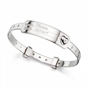 D For Diamond Medical Baby Bangle  - Silver