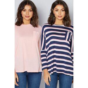 Studio Pack of 2 Drop Shoulder Pink + Navy Stripe Top  - Pink