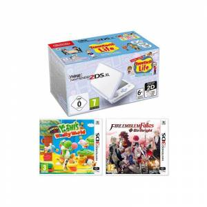 Nintendo 2DS XL White and Lavender Console and Games Bundle  - Multi
