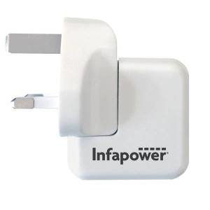 Infapower P041 5V 2.1A Fast USB Twin Mains Charger UK Plug