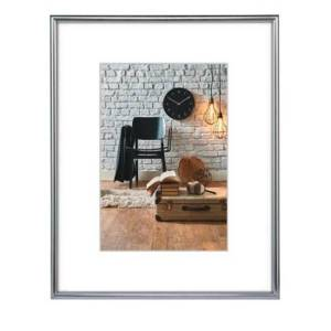 Hama Sevilla Picture Frame 20x 28cm with Mat 13x 18cm, Glass, Plastic Frame, ready to hang Silver