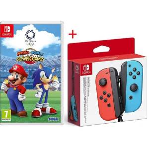 Mario & Sonic At The Olympic Games Tokyo 2020 Game + Nintendo Switch Joy-Con Controller Pair (Neon Red/Neon Blue)