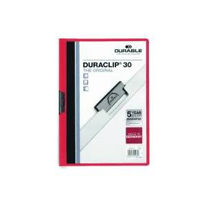 Durable Duraclip A4 Folder - Red (25 Pack)