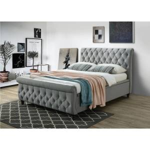 Connect Anna Ottoman Scroll Headboard and Footboard King Size bed in Grey
