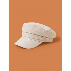 Rosegal Plain Linen Military Cap  - Color: BEIGE