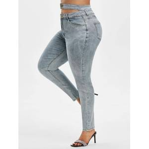 Rosegal High Waisted Plain Cut Out Plus Size Skinny Jeans  - Size: 4XL - Color: LIGHT BLUE