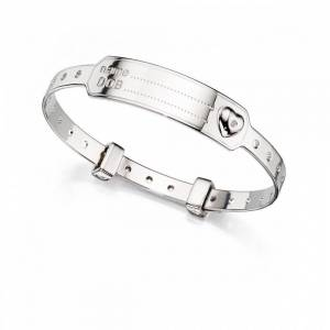 D For Diamond Sterling Silver Heart Medical Baby Bangle B4875