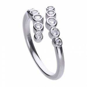 Diamonfire Silver White Zirconia Modern Ring R3658 Size M 1/2 - 17 Siz