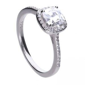 Diamonfire Silver White Zirconia Square Ring R3626 Size L 1/2 - 16.5 S