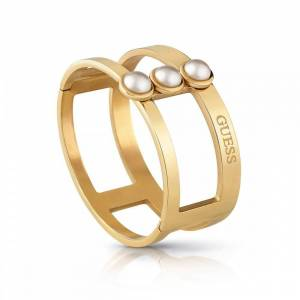 Guess Jewellery Guess 3 White Pearl Gold Bangle UBB78067-L