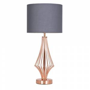 Value Lights Jaspa Copper Table Lamp with Grey Shade