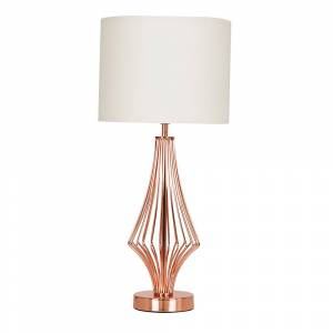 Value Lights Jaspa Copper Table Lamp with Beige Shade