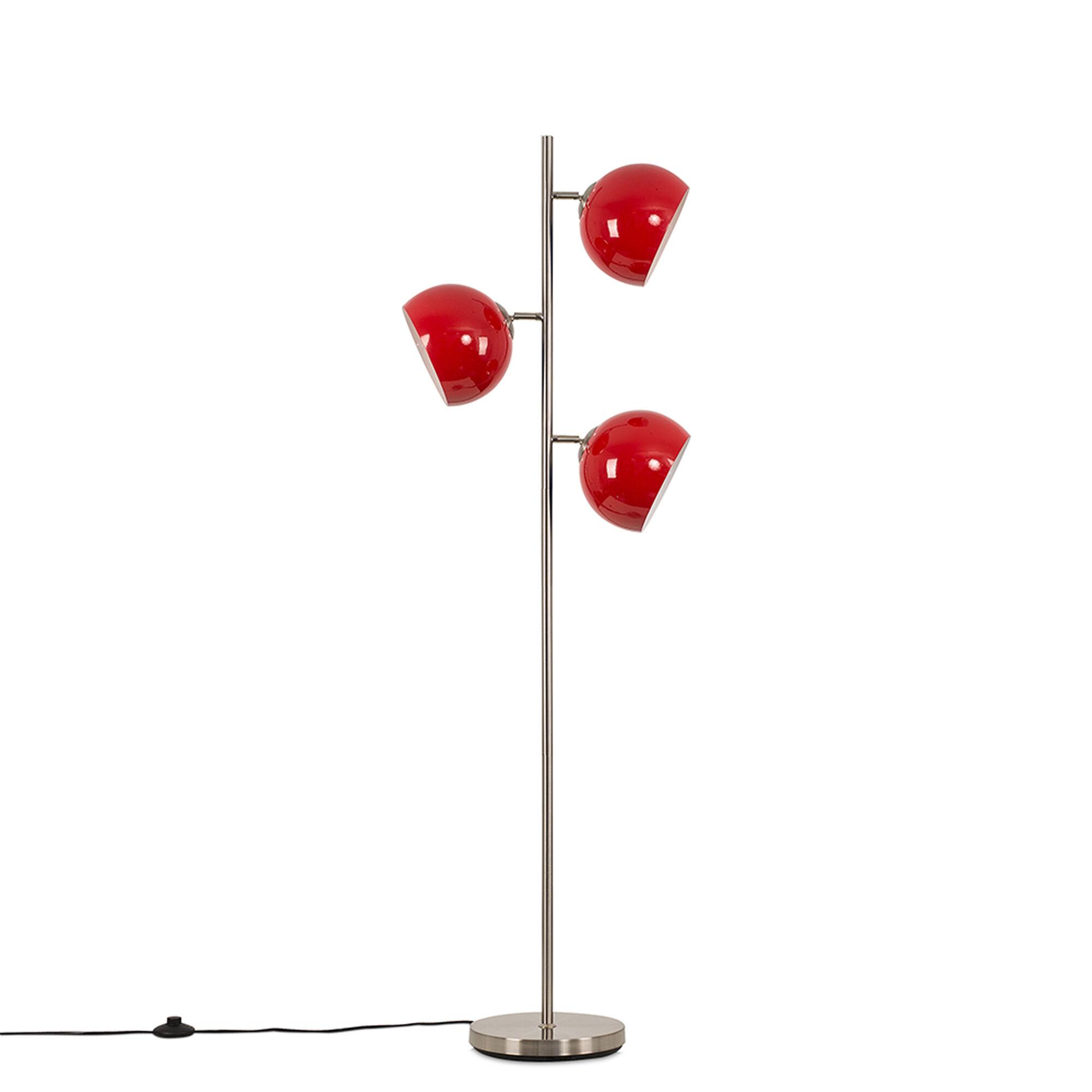 Value Lights Elliot Satin Nickel 3 Way Floor Lamp with Red Shades