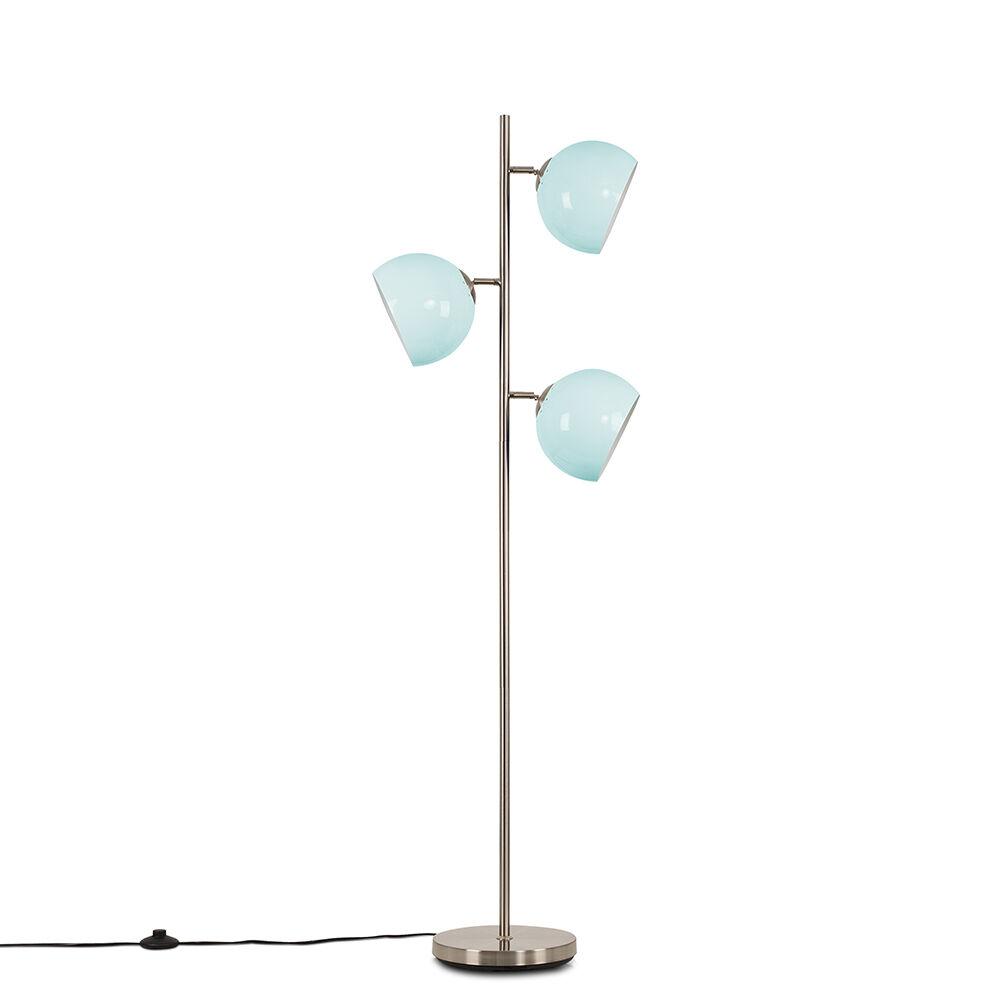 Value Lights Elliot Satin Nickel 3 Way Floor Lamp with Powder Blue Shades