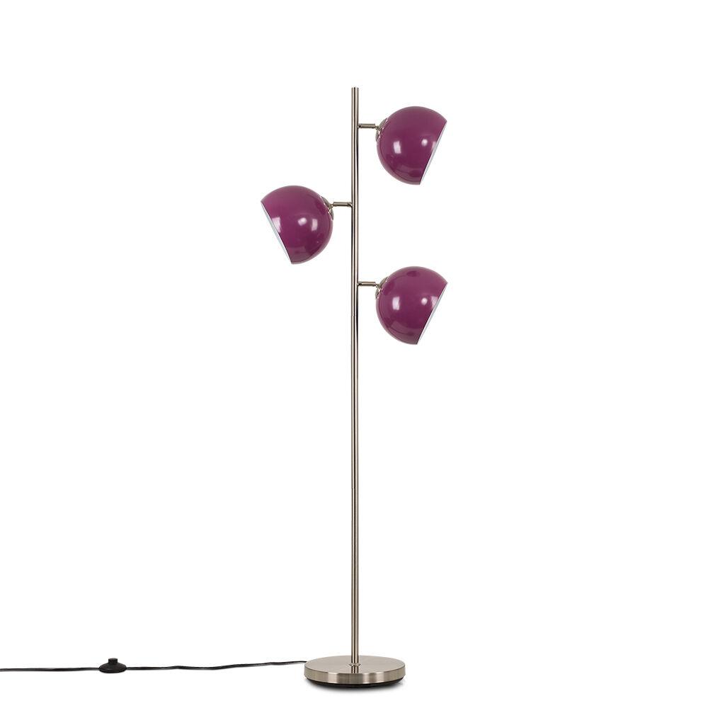 Value Lights Elliot Satin Nickel 3 Way Floor Lamp with Purple Shades