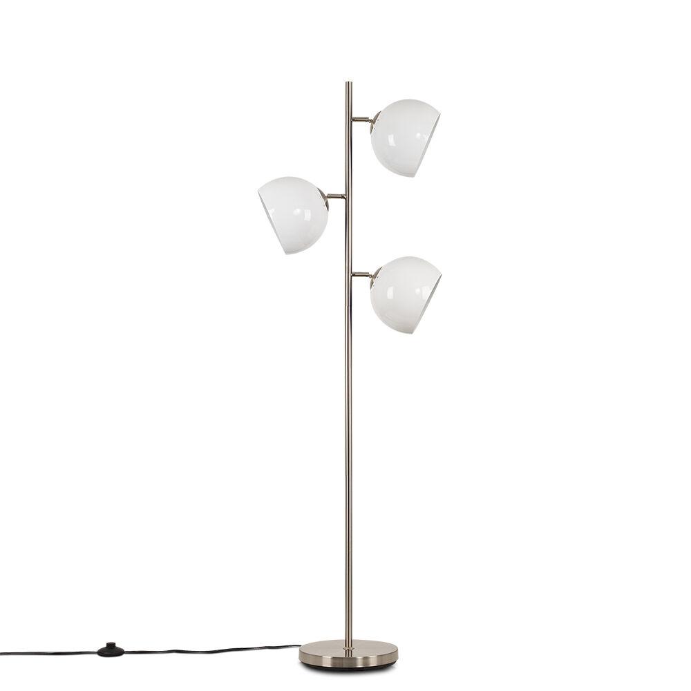 Value Lights Elliot Satin Nickel 3 Way Floor Lamp with White Shades