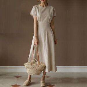Finlo Plain Short-Sleeve Midi A-line Dress
