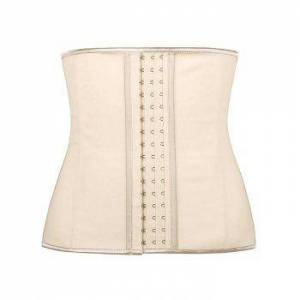 Faux Leather Piping Shapewear Plus Size Corset  LIGHT COFFEE  M