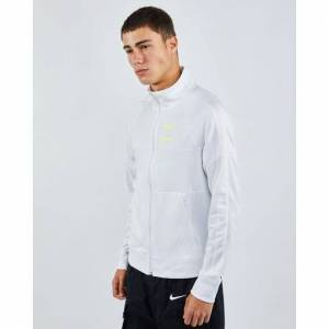 Nike Swoosh Poly Knit - Men Track Tops  - White - Size: Medium