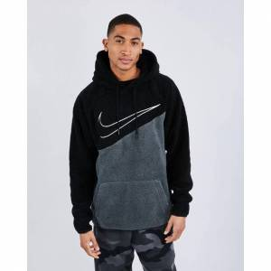 Nike Swoosh Sherpa - Men Hoodies  - Black - Size: Extra Small