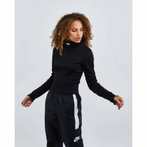 Nike Femme Long Sleeve Rib - Women T-Shirts  - Black - Size: Medium