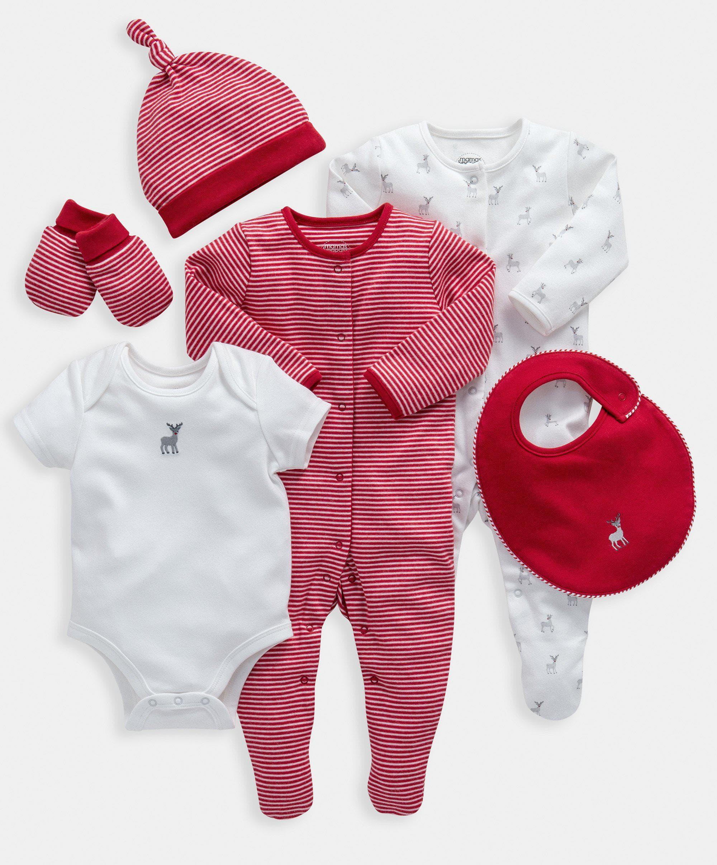Mamas & Papas Reindeer Print 6 Piece Clothing Set  - 9-12 Months
