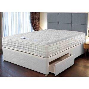 """Sleepeezee Cashmere Royale Divan Bed Set - Double (4'6"""" x 6'3""""), 4 Drawers, Sleepeezee_Weave Heather"""