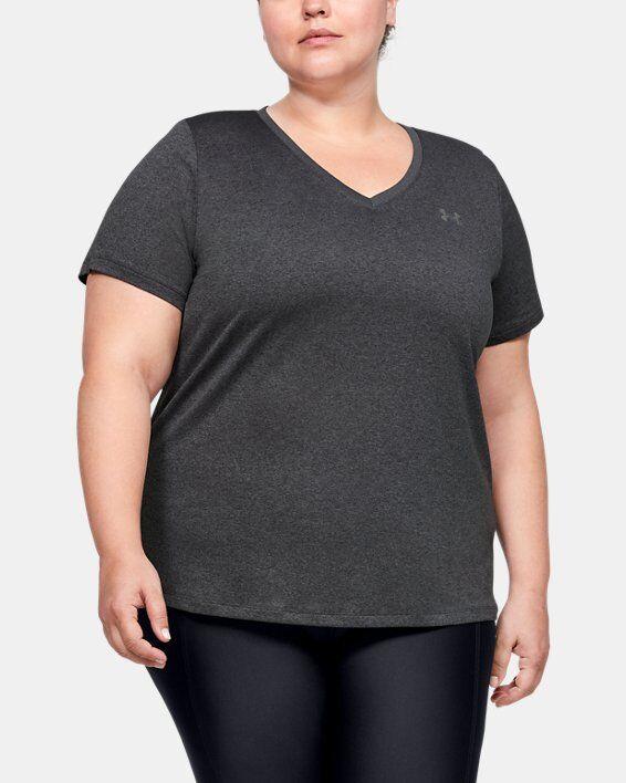 Under Armour Women's UA Tech Short Sleeve V-Neck  - Gray - Size: 1X